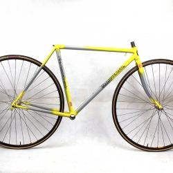 Cadre & fourche gris et jaune Maiguenaud Columbus Aelle T48