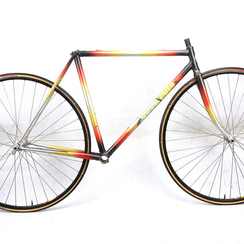 Cadre & fourche noir rouge jaune et gris Courtois Columbus SLX Taille 50