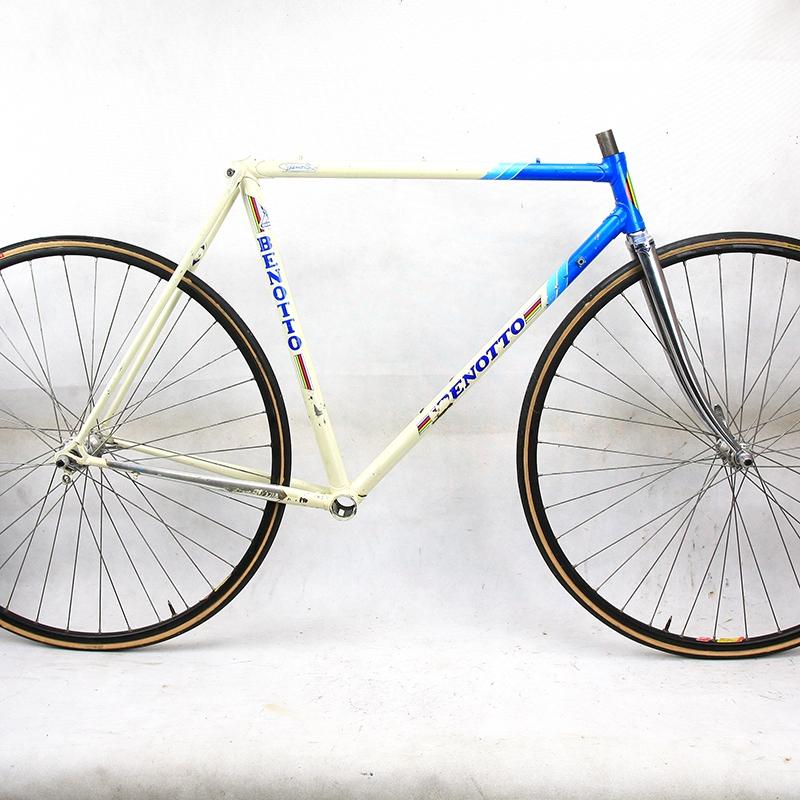 Cadre et fourche bleu et blanc Benotto Columbus Zeta T53