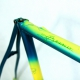Blue, green and yellow frame and fork Bernard Hinault Columbus Brain Size 56