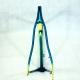 Cadre et fourche bleu, vert et jaune Bernard Hinault columbus Brain Taille 56